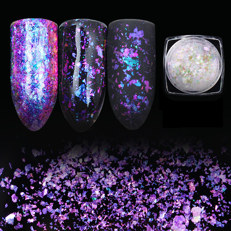 1 Box BORN PRETTY Transparent Chameleon Nail Sequins Dust Dazzling Paillette Manicure Nail Art Glitter Sheet Decorations