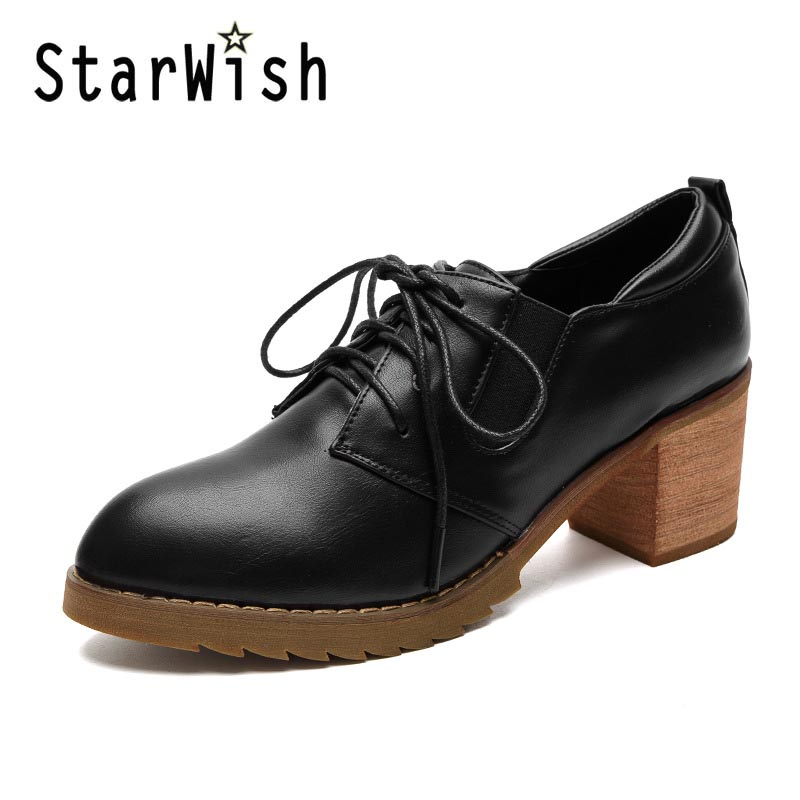 ФОТО Vintage Pointed Toe Lace Up Square Heels Women Pumps Ladies Casual Middle Height 6cm High Heels Shoes England Style Campus Shoes