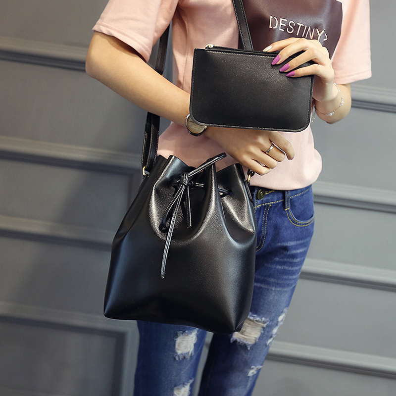 ФОТО 2017 Ladies Handbags Brief Fashion Bucket Bag PU Leather Womens Shoulder Crossbody Bag For Women  Day Cluthes Small Bags