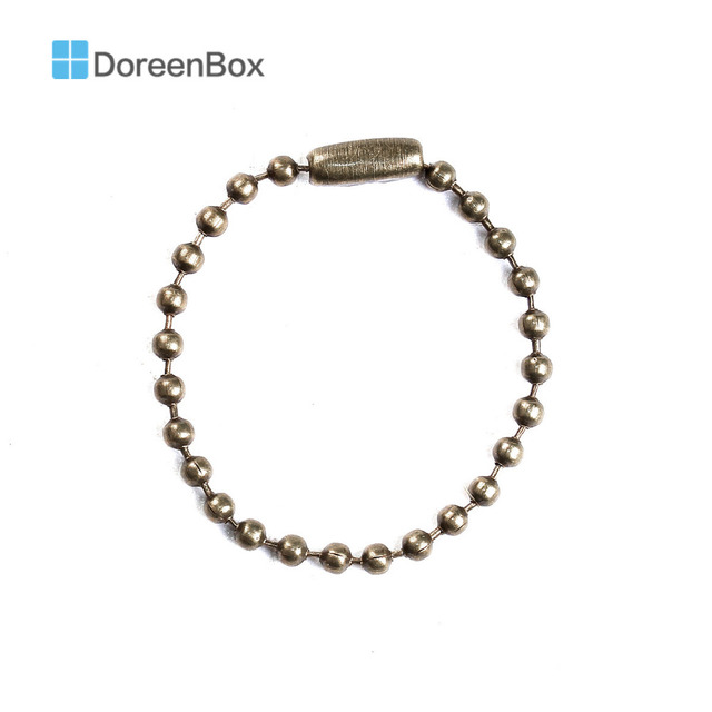 Doreen Box Lovely 100PCs Antique Bronze Color DIY Connector Clasp Ball Chains Keychain Tag 10cm
