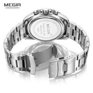 Image 5 - MEGIR Mens Chronograph Quartz Watches Stainless Steel Waterproof Lumious Analogue 24 hour Wristwatch for Man Green Dial 2064G 9