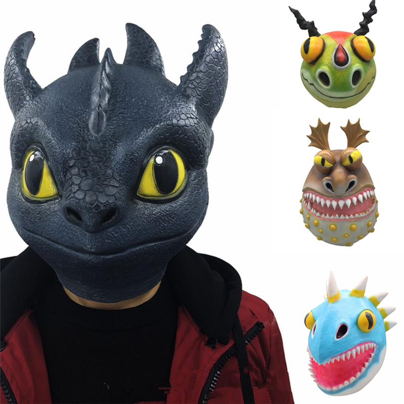 Anime How to Train Your Dragon Cosplay Masks Night Fury Toothless Gronckle Nadder Kids Adult Latex Mask Helmet Cosplay Props New