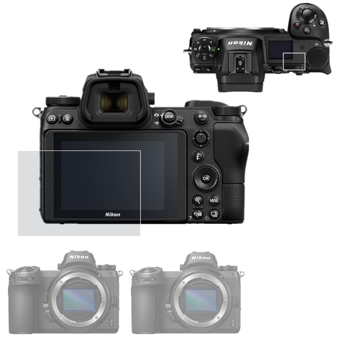 Self-adhesive Main LCD Tempered Glass / Film Screen Protector + Top Shoulder Info Screen Protector For Nikon Z7 Z6 Z 7 6 Camera