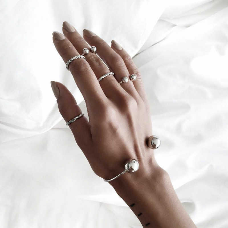 New Round Bead Bracelet Bracelet Ring Combination Of Fashion Women's Joker Wholesale Jewelry Selling Simple Silver Bracelet