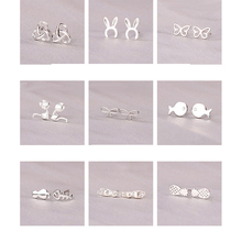 925 Sterling Silver Splicing Cute Animal Stud Earrings For Women Casual Style Gi