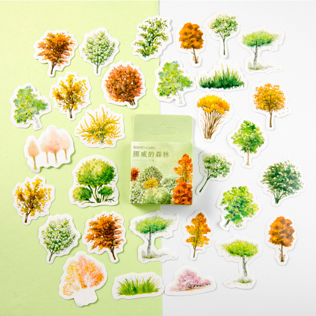 40 Pcs/box Norwegian Forest Label Kawaii Diary Handmade Adhesive Paper Flake Sticker Scrapbooking Stationery Stationery
