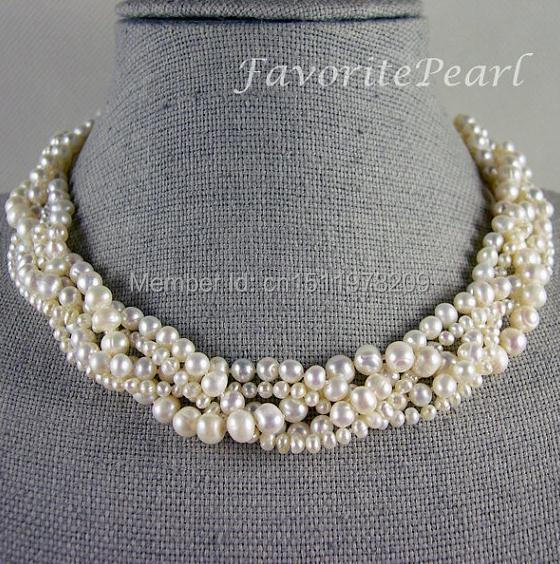 White Pearl Necklace Wedding Bridesmaid Jewelry 18 Inches 5 Rows 3 8mm White Genuine Freshwater Pearl