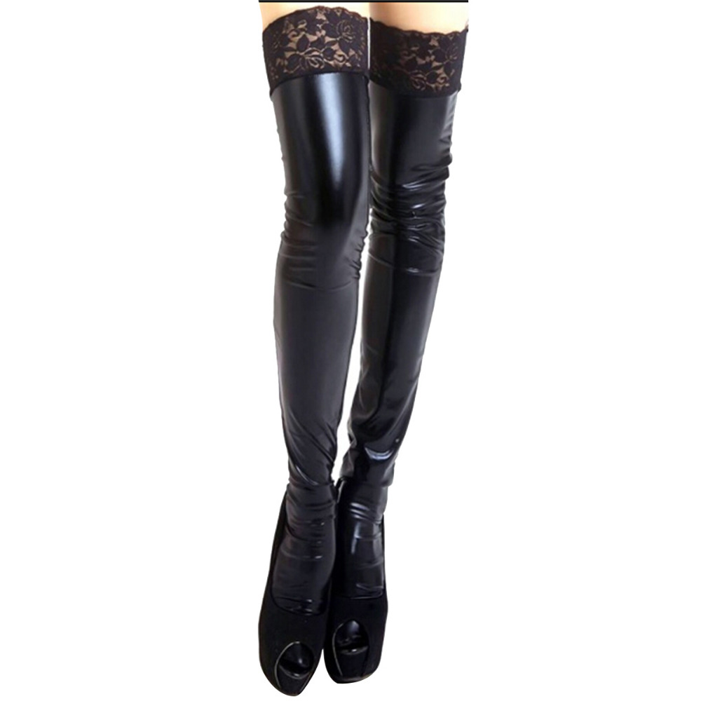 Faux Patent Leather Thigh High Stockings Non-slip Long Knee Socks Accessories
