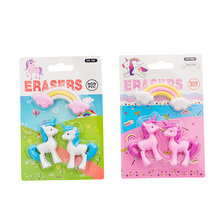 3pcs/pack Cute Rainbow Pink Unicorn Shape Eraser Kawaii Stationery School Office Party Supplies Gift Girl Student Kids