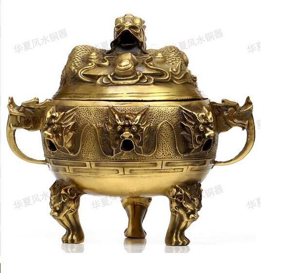 Collection fine workmanship brass nine dragon Incense burner
