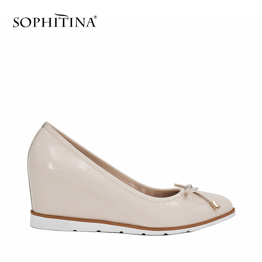 все цены на SOPHITINA Fashion Lady Wedges Pumps Genuine Leather Round Toe Pumps Comfortable Handmade Slip-on Casual Shoes Butterfly-knot W22