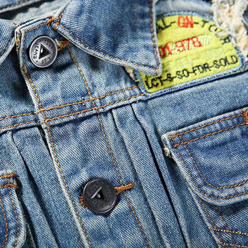 2017 5xlプラス秋冬ファッションデニムジャケット男性ジーンズスリムフィットメンズジャケットとコートカジュアルボンバージャケットメンズコートデニム
