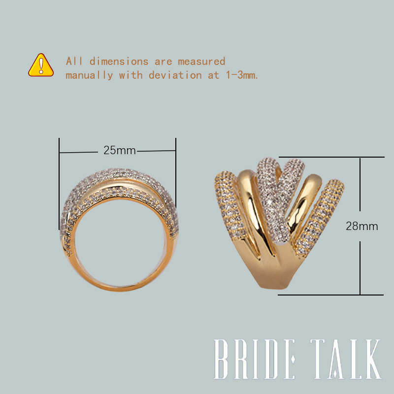 Bride Talk Luxury Women Ring AAA Cubic Zirconia Shiny Crystal Multi-Layered Design Fashion Jewelry For Wedding Party Dating Gift 6