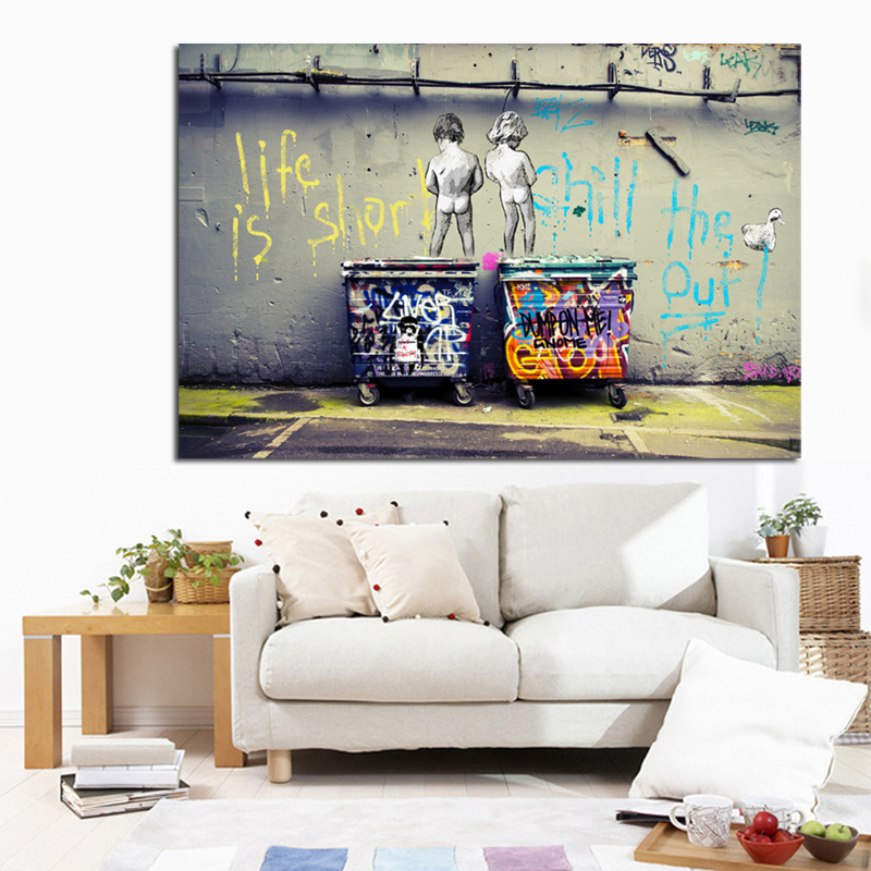 Big Size Banksy Art Graffiti Life is Short Chill the Duck out Canvas Two Nude Kid HD Print Painting Wall Art Home Cuadros Decor