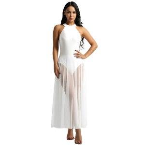 Image 4 - Балетное платье, трико для балета, Женское боди, длинное балетное платье с ложным воротником и сетчатой юбкой макси, танцевальное платье из лайкры