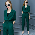 Elegant Ladies Pants Suit New 2017 Fashion Spring Autumn Notched Business Women Suits Blazer with Wide Leg Pant Set Two Piece