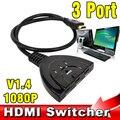 Nova HDMI HUB 3 Porto 1080 P 3D HDMI Switcher Mude Splitter Hub adaptador com cabo para pc tv cabo hdtv dvd ps3 xbox 360 caixa