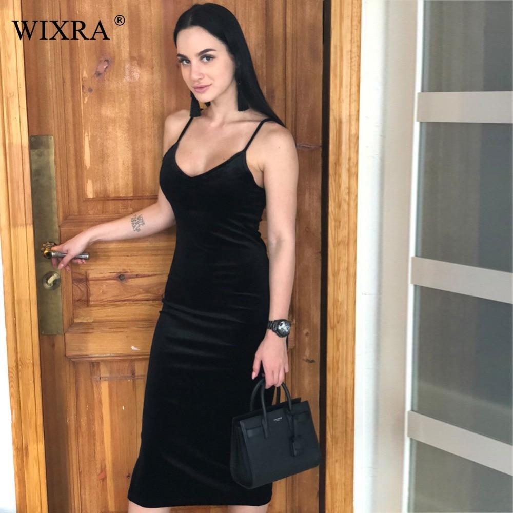 WIXRA basique Spaghetti robe à bretelles 2018 été nouvelles femmes côté fendu velours robe solide brève fête moulante Midi robes décontractées