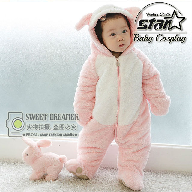 c3622963be8f Baby Rompers Coveralls Winter Baby Girl Fleece Rompers Soft Girls Flannel  Romper Pink Bunny Children s Clothing