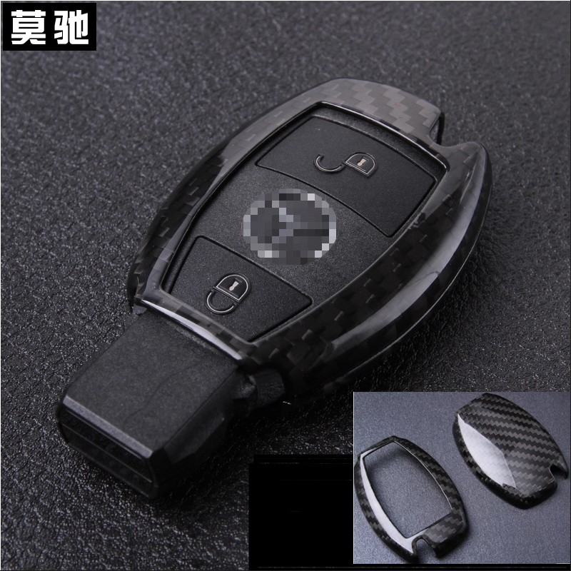Free shipping 1 pc real carbon fiber car key case key cover for Mercedes benz A B E GLA GLK GL GLE GLS CLA CLS car steering wheel emblem stickers for benz a b e s gle glk gla