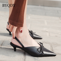 BYQDY Sexy Thin Heels Women Sandals Summer 2018 New Pointed Toe Fashion Bow tie Ladies Mules Shoes For Party Gift