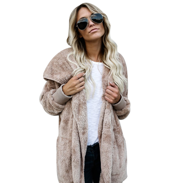 Winter Hooded Puffy Faux Fur Coat Solid Fourrure Long Sleeve Pocket Hairy Long Jacket Ladies Thick Warm Slim Stitch Outwear