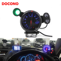 Universal 80mm racing car speedometer 12V auto modified tachometer pointer meter gauge with alarm and gear shift tips