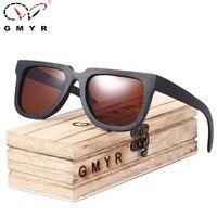 GMYR Bamboe Zonnebril cat eye Mannen Grey Frame Gepolariseerde 2 Lenzen Colours Retro handgemaakte Mannen Vrouwen Madeira Zonnebril