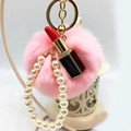 Hot sale Sexy Lipstick Rabbit  Fur Ball Keychain - Rex Rabbit Fur Pom Pom Plush Key Chain Keyring men women key ring