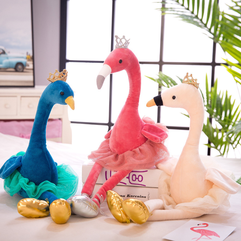 Stuffed Swan Flamingo Peacock Plush Toys With Crown Stuffed Animals Doll Soft Toy For Children Girls Gift Home Decoration