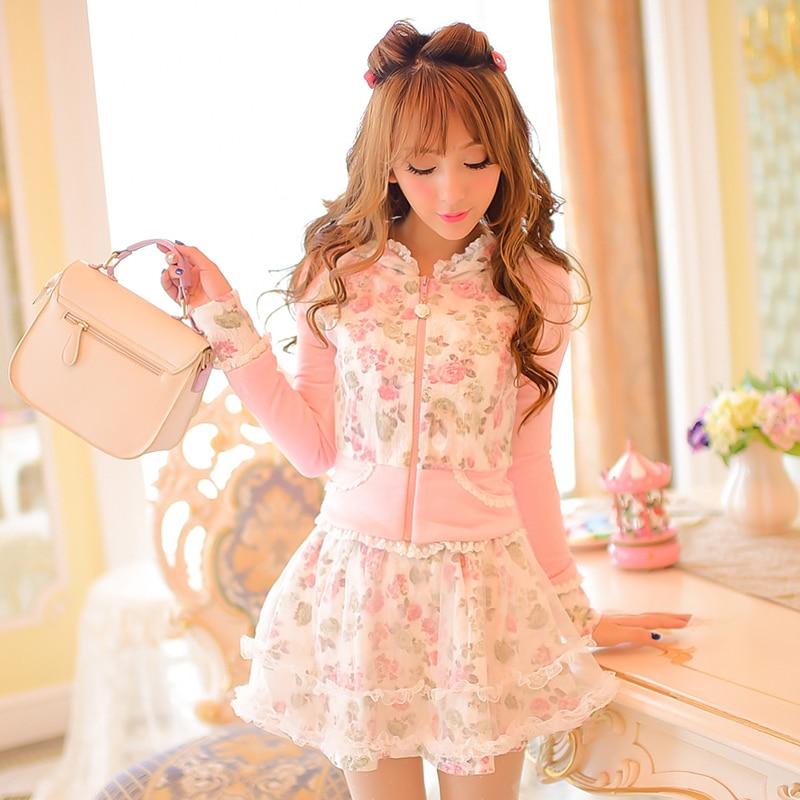 Princess sweet lolita white flower skirt Candy rain grenadine bubble skirt printing Bow decoration Japanese design