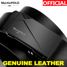 MartinPOLO Mens Automatic Genuine Leather Business Belts Men Toothless Belt Alloy Buckle Cowhide Strap For Male MP01301P