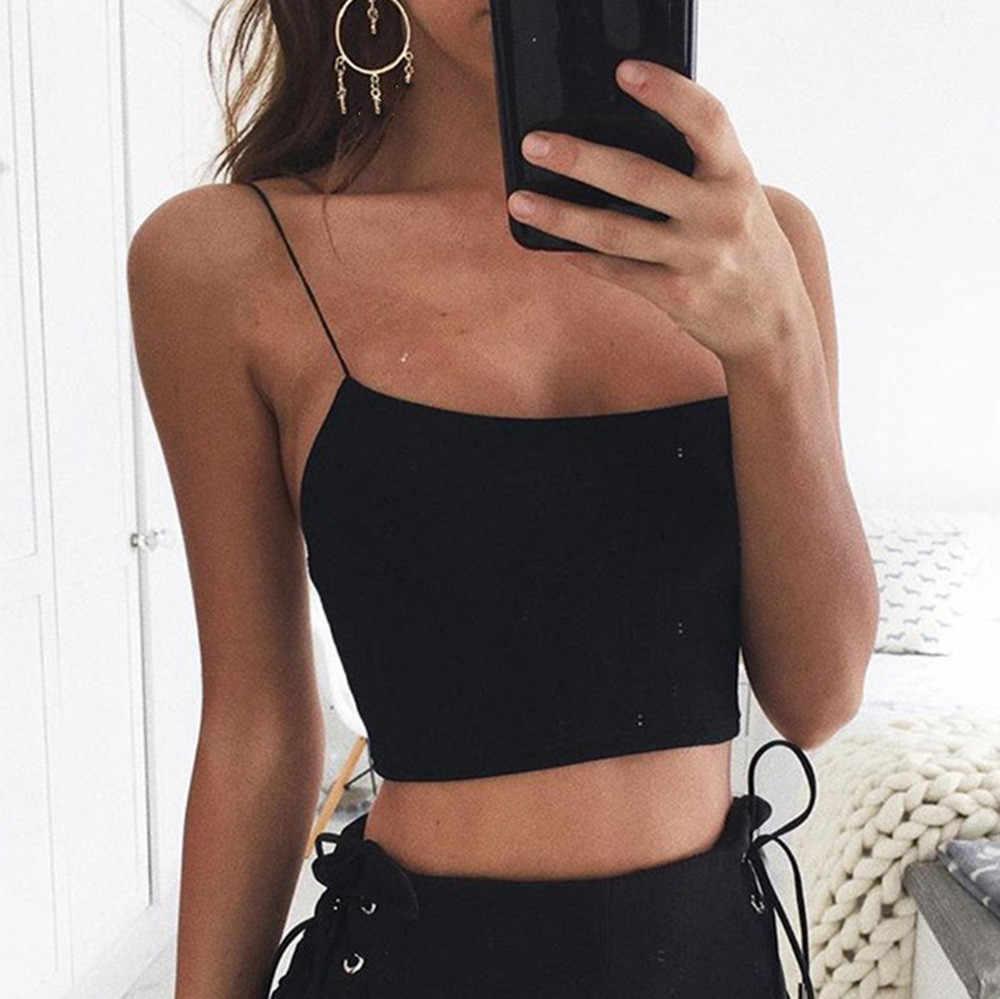 2019 ฤดูร้อนเซ็กซี่หญิง Crop Tops 95% ฝ้ายผู้หญิง Tank Top Solid Fitness Lady Camis Casual สีขาวสีดำ TOP