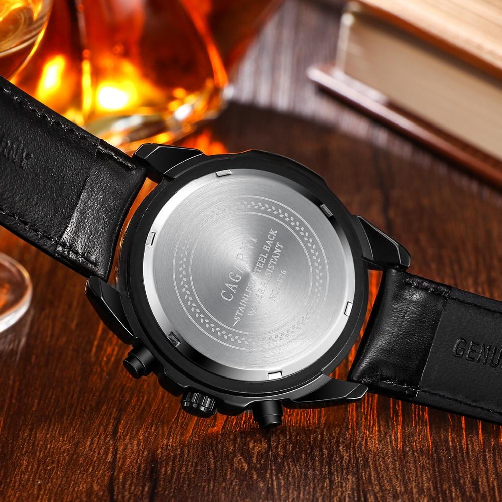 quartz wristwatches leather strap sports watches casual mens wrist watch black case (3)