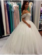 Романтическое свадебное платье с открытыми плечами и рукавами