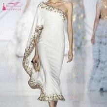 Slim fit Fashion Lace Appliques Ruffles One Shoulder Plus Size Evening Dresses T