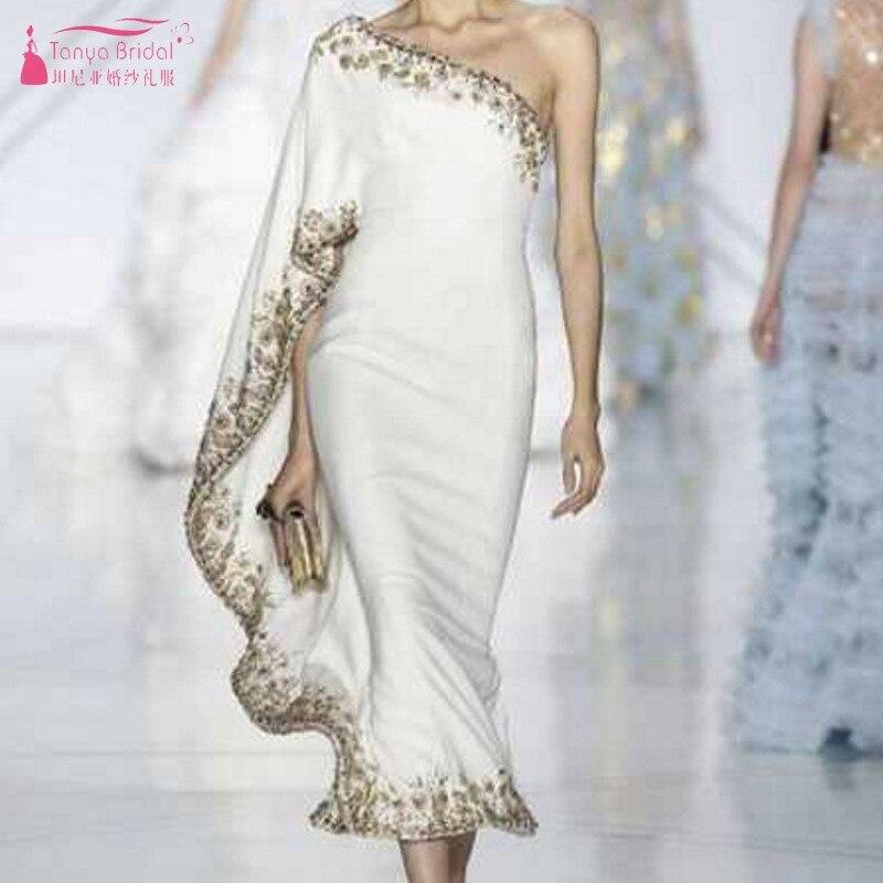 Slim fit mode dentelle Appliques volants une épaule grande taille robes de soirée thé longueur Simple robes de bal SS168