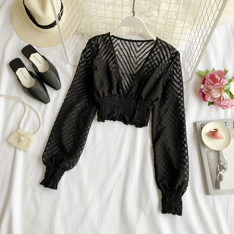 2019 new fashion women's   blouse     shirt   holiday style sexy perspective long-sleeved high waist short chiffon   shirt