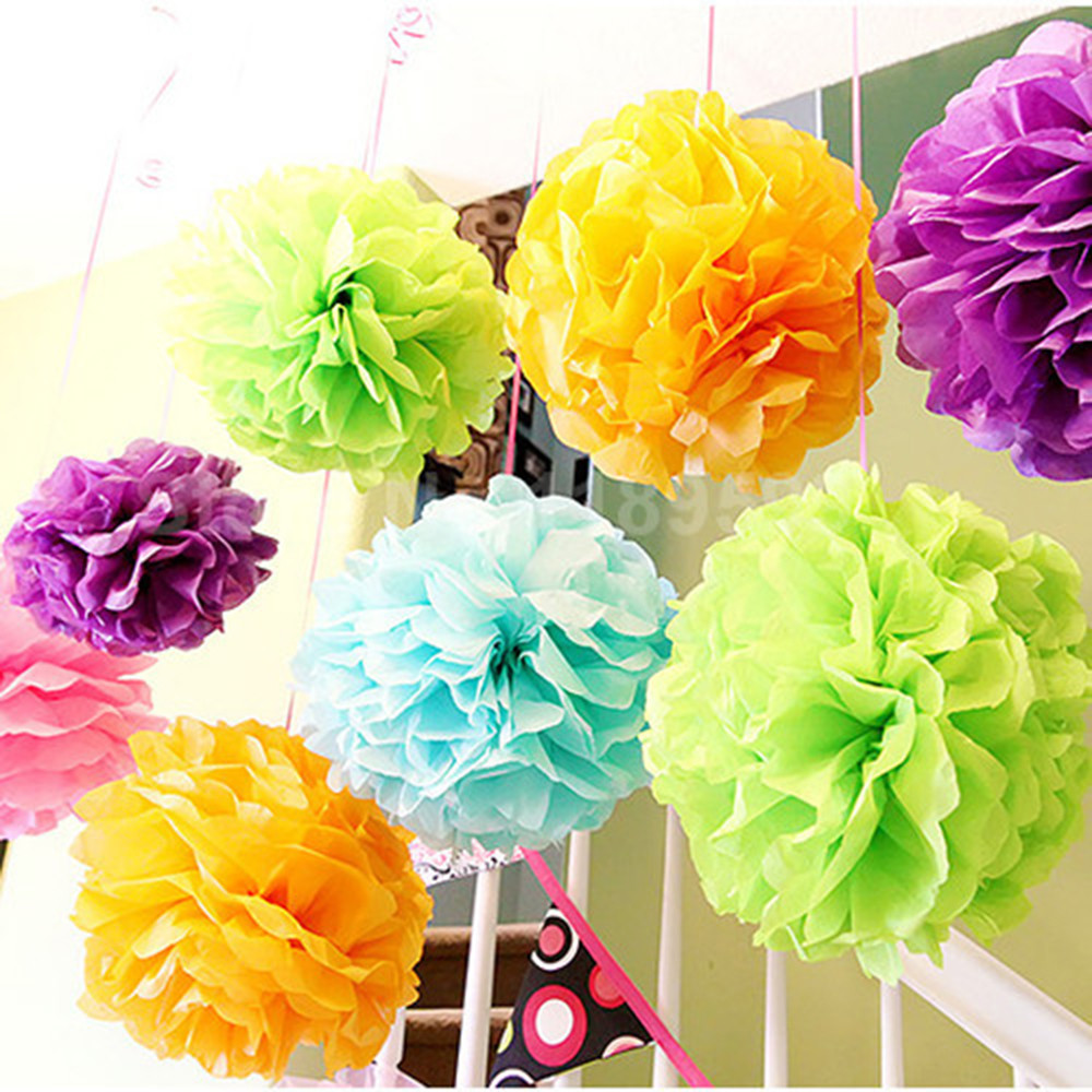 Birthday party backdrop tissue paper pom poms product on alibaba com - 10pcs Solid Paper Decoration Pom Poms 8 20 Cm Tissue Paper Flower Ball