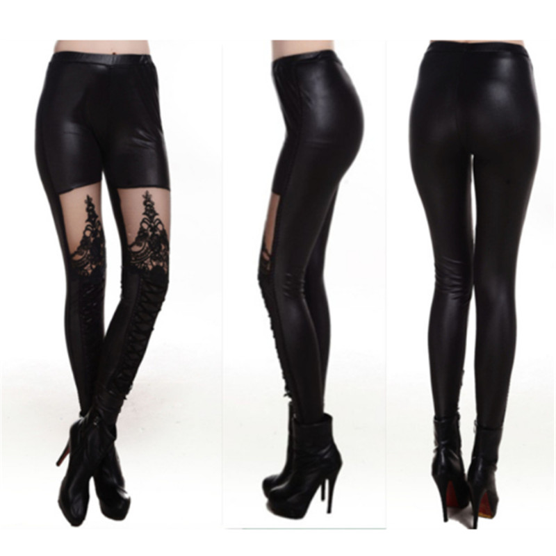 83b24fd9f84 ... New 2016 Punk Sexy PU Leather Stitching Embroidery Bundled Hollow Lace  Black Leggings for Women Hot-in Leggings from Women s Clothing on Aliexpress .com ...