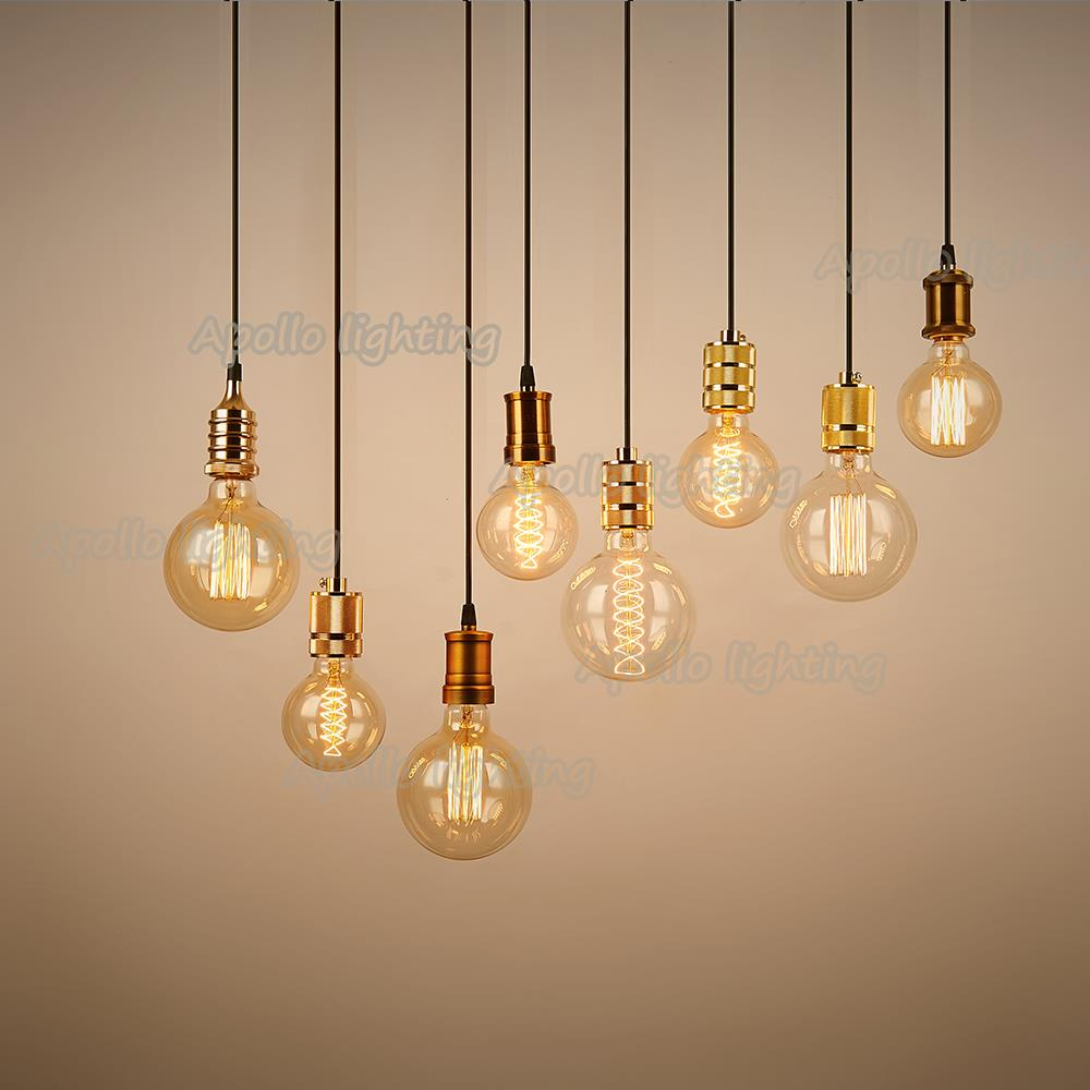 E27 e26 bulbs edison lamp holder retro vintage lights for Lampade a sospensione vintage