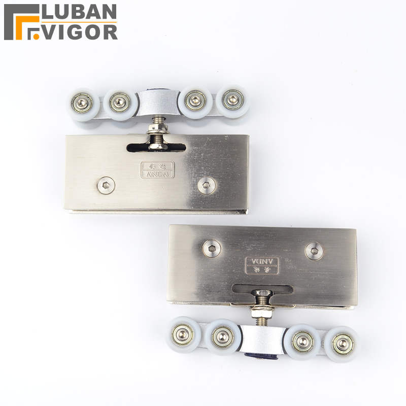 Glass hanging round 8 Moving glass door pulley for without Doorframe glass door fittings 2 pcs