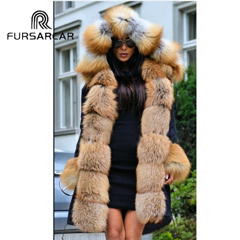 FURSARCAR 2019 New Winter Parka Luxury Women Natural Fur Jacket With Real Fox Fur Collar Cuff