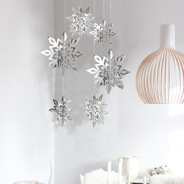 6pcs//set 3D White Snowflake Christmas Ornaments Xmas Tree Hanging Decoration New