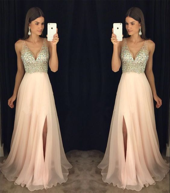 Honey Qiao Prom Dresses Blush Pink A Line Long 2017 V Neck With