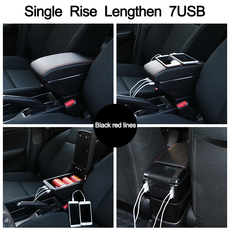 Image 5 - For Ford Fiesta Armrest Box Ford Fiesta Universal Car Central Armrest Storage Box cup holder ashtray modification accessories-in Armrests from Automobiles & Motorcycles