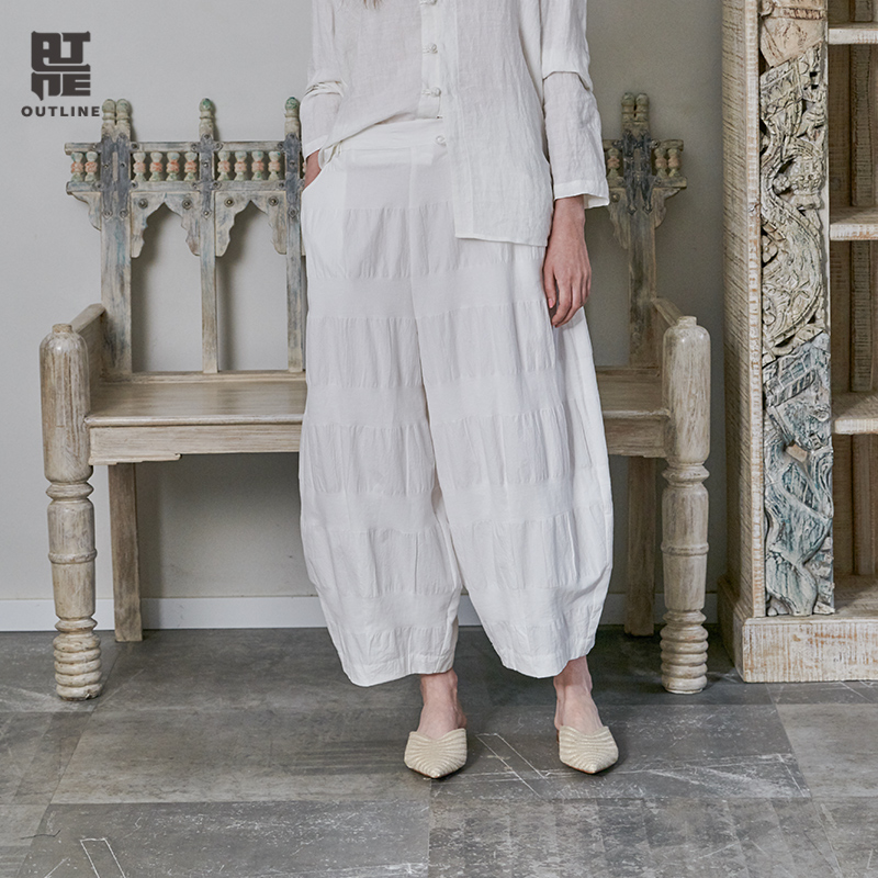 Outline 2019 New Spring Cotton Crumpled Mid Waist and Wide Leg Trousers Casual Elastic Waist Ankle