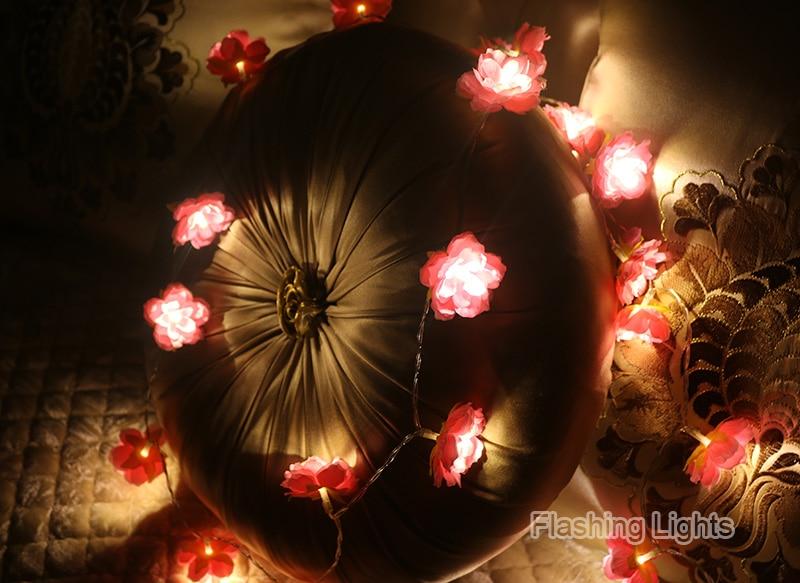 Novelty 2M / 3M hiasan buatan tangan Bunga Fairy String floral Lights - Pencahayaan perayaan - Foto 5