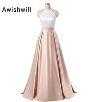 Real Picture Halter Satin Floor Length Party Dress Two Pieces Sleeveless Chic Long Evening Dresses Pageant Gown Vestido Longo
