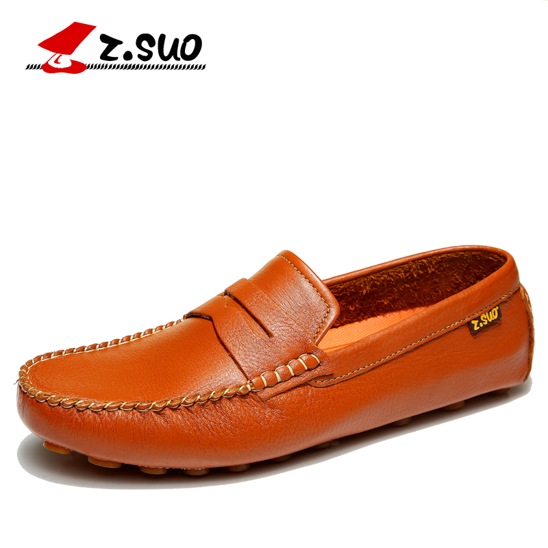 Z.SUO Spring Autumn Fashion Loafers Full Grain Leather Upper Cow Muscle Sole Men's Casual Shoes Slip On Leisure Shoes ZS0318Y 2015 new spring and summer british top fashion leisure driving full grain embossed genuine leather slip on men s loafers shoes